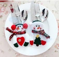 household dining table set christmas snowman knife: new hotel restaurant xmas decor snowman kitchen tableware holder pocket knife fork dinner cutlery bag set party christmas table decoration