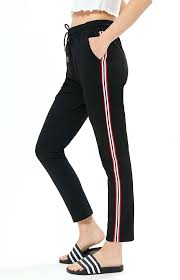 leather joggers womens side stripe jogger pants faux
