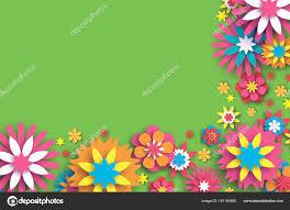 Colorful Floral Card Paper Cut Flowers Border Composition
