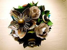 Paper Flower Bouquet For Wedding Paper Flower Wedding Bouquet Green Teal Book Pages Kusudama Rose