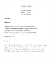 Sample Resume For A Cashier Sample Cashier Resume Sample Resume