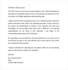Recommendation Letter For Teaching Position Recommendation Letter For Substitute Teacher