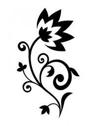 černobílá Květina Nalepovací Tetování