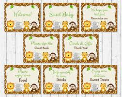 Safari Animals Template Details About Cute Jungle Safari Animals Baby Shower Table Signs 8 Printable Signs