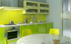 Yellow And Gray Kitchen Decor With Big Windows Wooden Island Small Apartment Kitchen Decorating