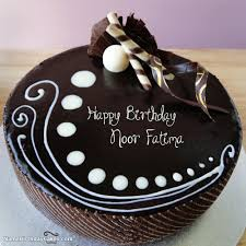 Candy Chocolate Cake For Friends With Name Noor Fatima Birthdays