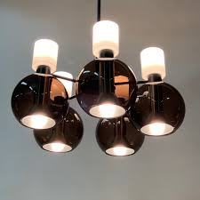 Glass Chandelier With Five Globes By Raak 1960s
