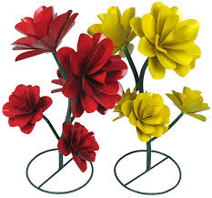 painted metal garden art flowers with 5