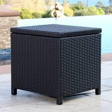 abbyson carlsbad outdoor wicker storage ottoman in black
