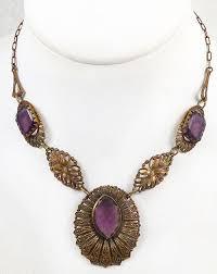 design description czech amethyst glass necklace c 1920
