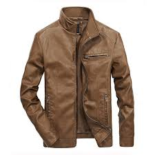 plus size biker stylish zipper pockets pu leather jackets for men khaki intl