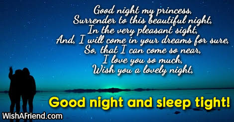 lovely good night messages my love