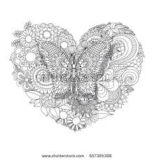 Small Picture Heart Shaped Flowers Zentangle Pattern Coloring Stock Vector