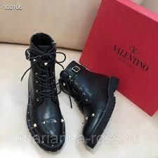Женские кожаные ботинки <b>Valentino Garavani</b> на шнуровке ...