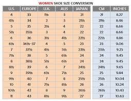 Womens Shoe Chart Womens Shoe Size Conversion Chart Google Search Bare