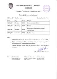 dec exam time table for engineering oriental university