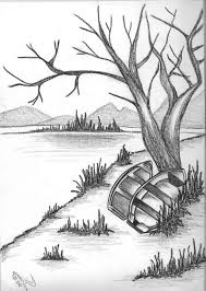 pencil sketch of sunrise pencil drawing of natural scenery simple