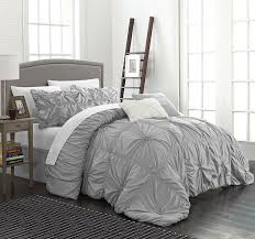 Amazon.com: Chic Home CS1432-AN Halpert Floral Pinch Pleat Ruffled Designer  Embellished King Comforter Set, 6-Piece, Silver: Home & Kitchen