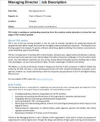 director job description managing director job description sample 9 examples in word pdf
