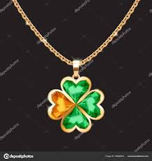 golden chain necklace with lucky clover pendant st patricks day irish symbol vector by rea molko