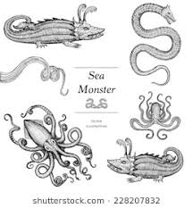 sea monster illustration. Plain Sea Hand Drawn Sea Monsters Throughout Monster Illustration
