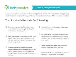 baby item checklist first aid kit shopping list babycentre uk
