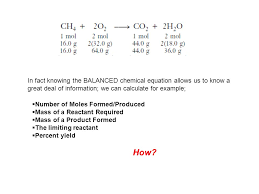 in fact knowing the balanced chemical equation allows us to know a great deal of information