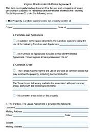 Month To Month Rental Agreement Template Month To Lease Word Rental Agreement Template Document
