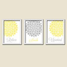 Relax Soak Unwind Yellow Grey Gray Flourish Dahlia Flower Artwork Set of 3  Bathroom Prints Wall