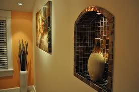 wall niche lighting. Inset Wall Niche - Brown Tile Background With Decorative Pitcher Lighting F
