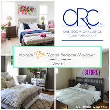 Modern Glam Master Bedroom Makeover ORC Week  BEAUTEEFUL Living - Modern glam bedroom