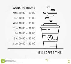 Hours Of Operation Design Coffee Time Working Hours Linear Vector Illustration Stock
