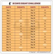7 Day Squat Challenge Chart 30 Day Squat Challenge Chart Printable Template To Print