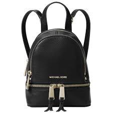 rhea large leather backpack black