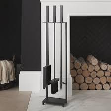crate barrel black fireplace tools