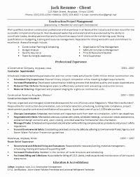 Construction Project Manager Resume Sample Doc Best Template