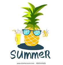 pineapple with sunglasses clipart. cool vector pineapple in sunglasses with juice clipart