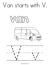 Small Picture Van starts with V Coloring Page Twisty Noodle