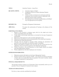 Substitute Teacher Job Description Resume Wonderful Resume Teacher Job Description Contemporary Entry Level 5
