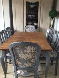 i like the french blue color french blue shabby chic dining table and chairs toile fabric in home furniture diy furniture table chair sets