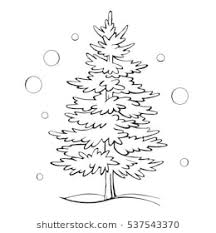 christmas drawing outline. Plain Christmas Christmas Tree Sketch Symbol Vector Xmas Winter Outline Drawing Isolated  On A White Background Throughout Drawing
