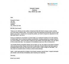 letter to accept job sample job acceptance letter