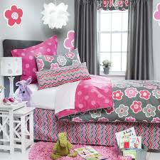 floral cute bedspreads with bed skirt and decorative pillows plus bedside  table also table lamp for