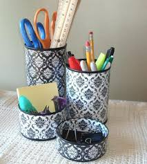 damask office accessories. Damask Office Accessories Black And White Desk Accessory Set Gift For Coworker Pencil Holder