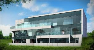 office building facades. Stylish Two Story Office Building In White Concrete And Glass Facades