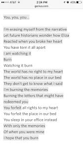 Slay Lin Manuel Miranda S Lyrics For Burn In Hamilton Musical