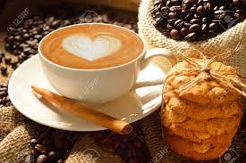 Cookie Coffee Cups Heart Cookie Coffee Stock Photos Pictures Royalty Free Heart