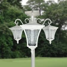 3 Lights Solar Lamp Post Planter Pot Garden Flower Display Decor Accent Outdoor