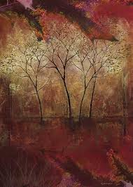 fall trees abstract nature painting fine art by wimdesigns on