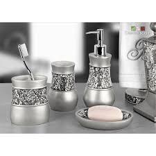4 Piece Bathroom Accessory Set Creative Scents Brushed Nickel 4 Piece Bathroom Accessory Set